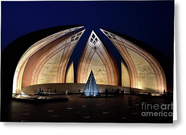 Pakistan Monument Illuminated At Night Islamabad Pakistan Greeting Card