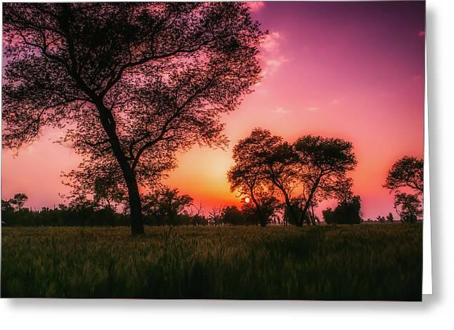 Pakistani Sunset Greeting Card by Abdul-Rafay Shaikh