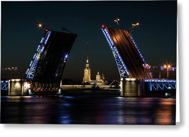 Palace Bridge At Night Greeting Card