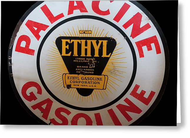 Greeting Card featuring the photograph Palacine Gasoline Sign by Chris Flees
