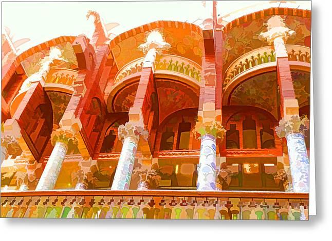 Palau De La Musica Catalana Window Greeting Card by Lanjee Chee