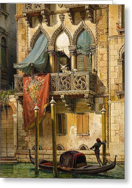 Palazzo Contarini In Venice. House Of Desdemona Greeting Card by Friedrich Nerly