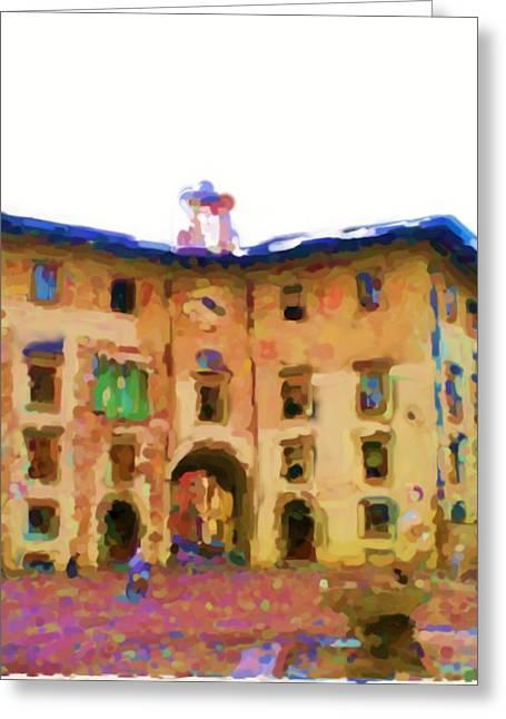 Asbjorn Lonvig Digital Art Greeting Cards - Palazzo dell Orologio Piazza dei Cavalieri di Pisa Greeting Card by Asbjorn Lonvig