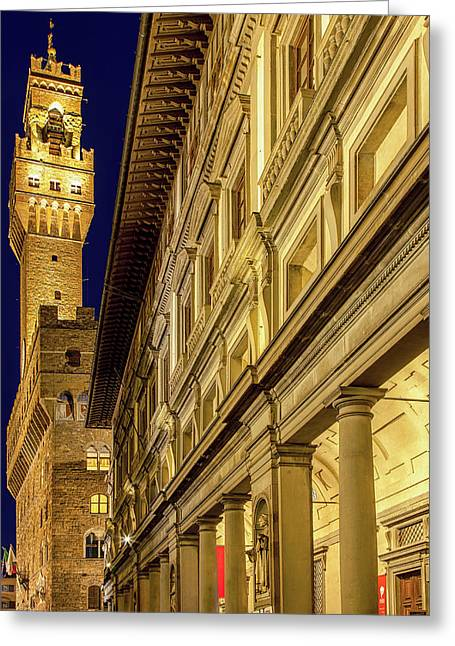 Greeting Card featuring the photograph Palazzo Vecchio And The Uffizi At Twilight by Andrew Soundarajan