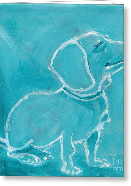 Pale Blue Doxie Greeting Card
