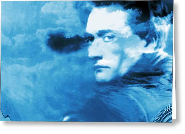 Pale Blue Portrait Of Antonin Artaud Greeting Card by Abstract Angel Artist Stephen K