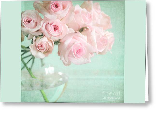 Pale Pink Roses Greeting Card