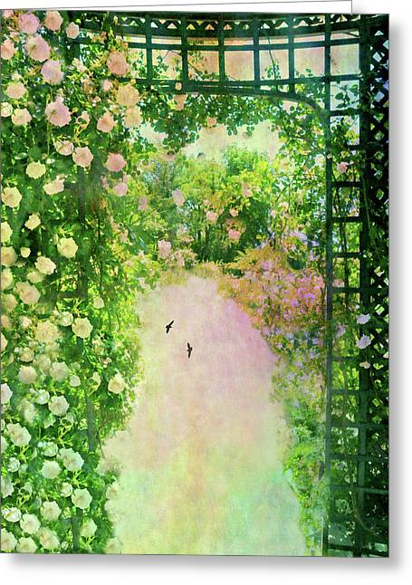 Pale Pink Trellis Greeting Card by Diana Angstadt