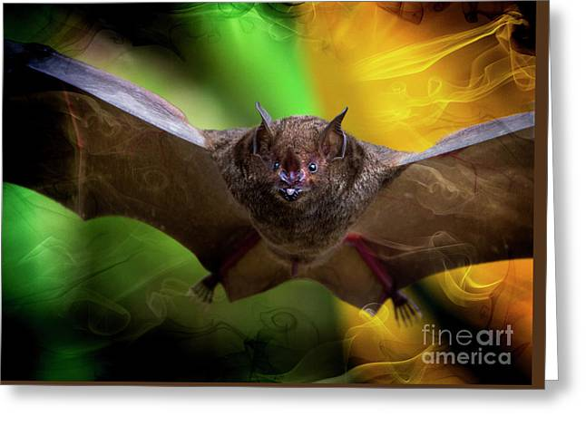 Greeting Card featuring the photograph Pale Spear-nosed Bat In The Amazon Jungle by Al Bourassa