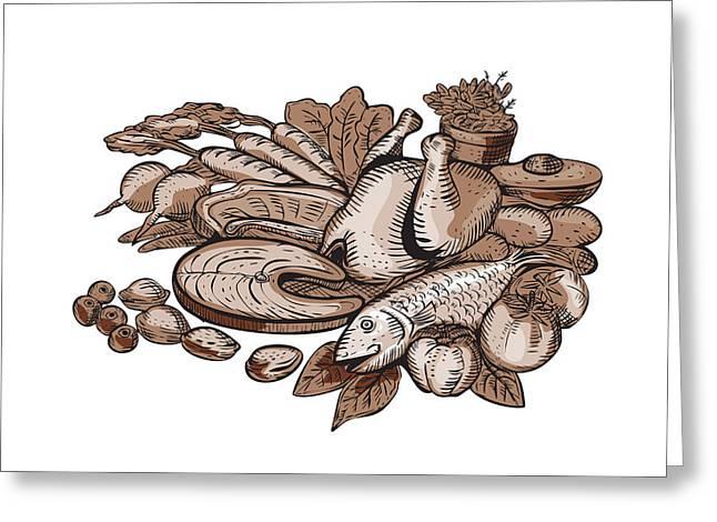 Paleo Diet Etching Greeting Card by Aloysius Patrimonio