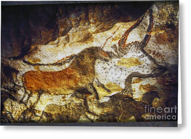 Paleolithic Cave Painting Greeting Card by Ruth Hofshi