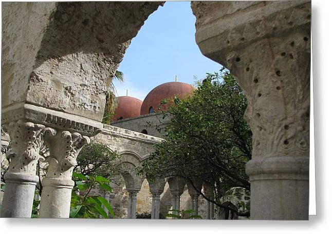 Arab-norman Greeting Cards - Palermo Cloister Greeting Card by Erik Falkensteen
