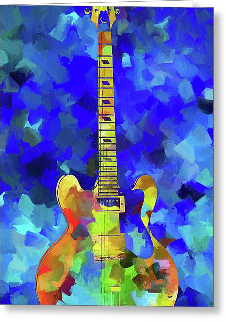 Palette Knife Colorful Guitar Greeting Card