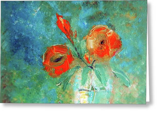 Palette Knife Floral Painting Greeting Card