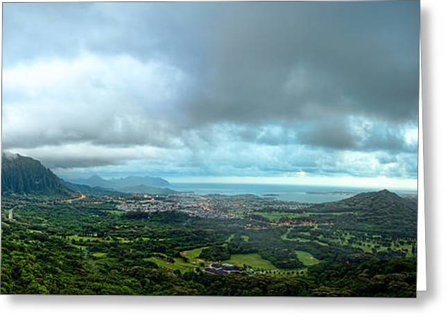 Greeting Card featuring the photograph Pali Lookout Dawn by Dan McManus