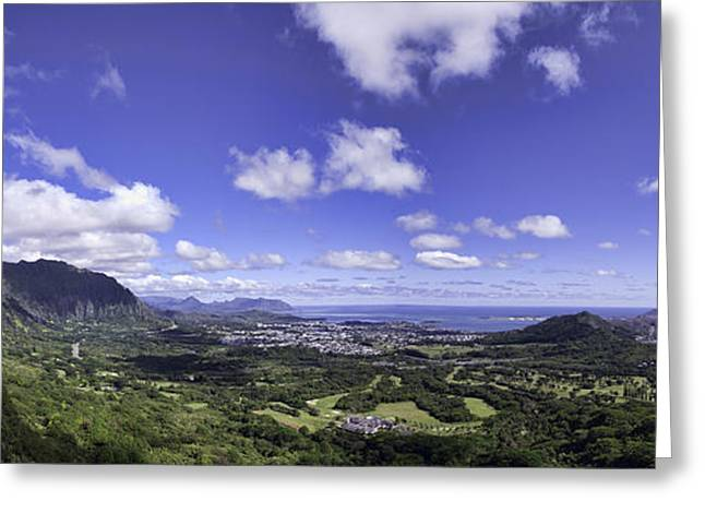 Pali Lookout Panorama Greeting Card