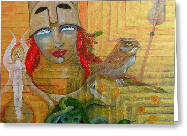 Warrior Goddess Greeting Cards - Pallas Athena Greeting Card by Erika Brown