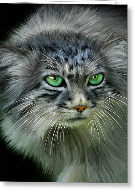 Pallas Cat Greeting Card by Julie L Hoddinott