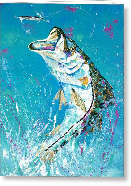 Pallet Knife Jumping Snook Greeting Card