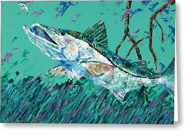 Pallet Knife Snook In The Mangroves Greeting Card