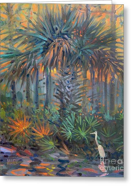 Palm And Egret Greeting Card by Donald Maier