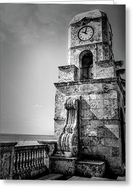 Palm Beach Clock Tower In Black And White Greeting Card