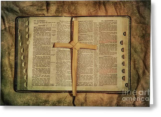 Greeting Card featuring the digital art Palm Branch Cross And Bible by Randy Steele