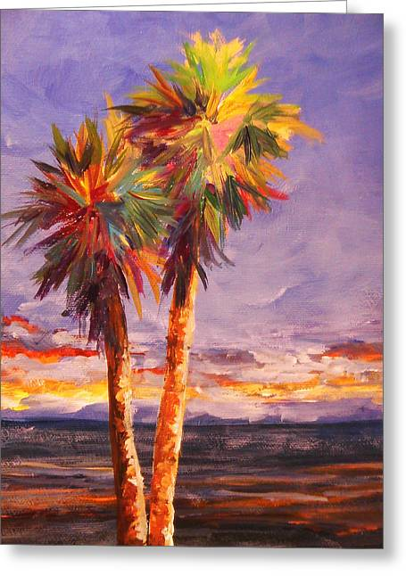 Palm Duo Greeting Card by Anne Marie Brown