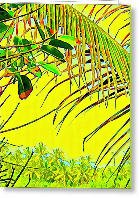 Palm Fragment In Yellow Greeting Card