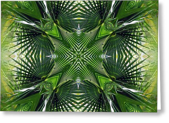 Palm Frond Kaleidoscope Greeting Card by Francesa Miller