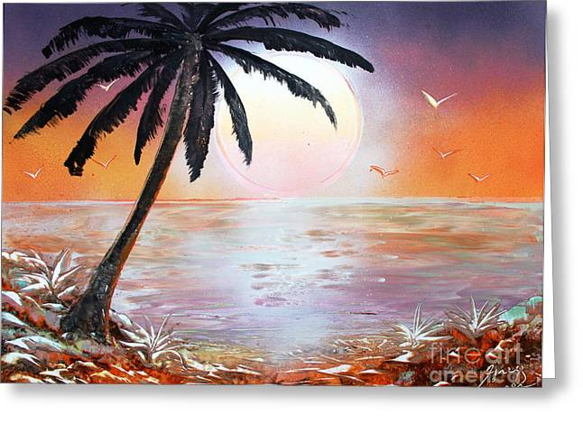 Palm Greeting Card by Greg Moores
