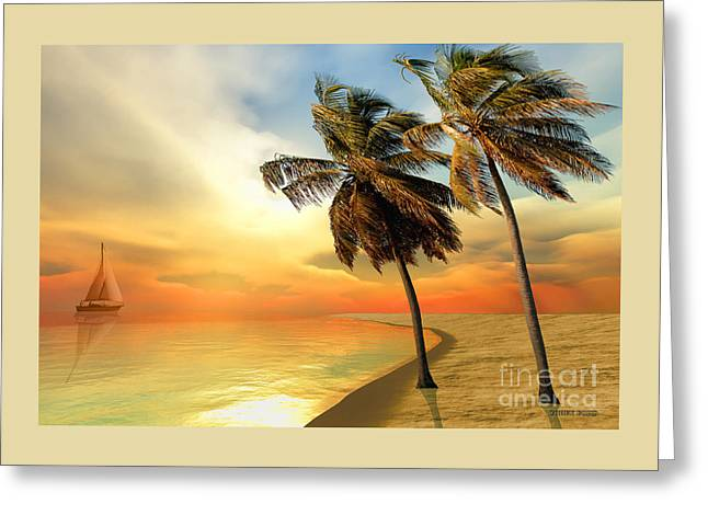Palm Island Greeting Card by Corey Ford