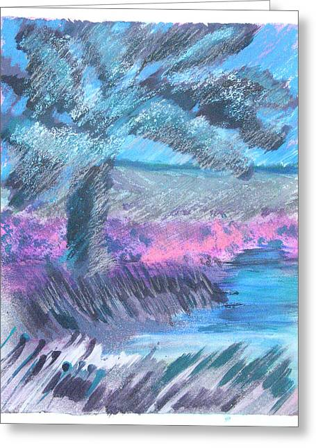 Silver Grass Mixed Media Greeting Cards - Palm of the Night Greeting Card by Judy Loper