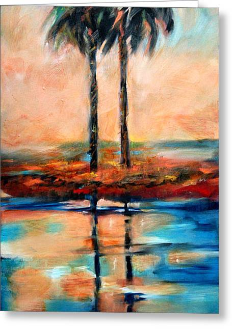 Greeting Card featuring the painting Palm Reflection 4 by Linda Olsen