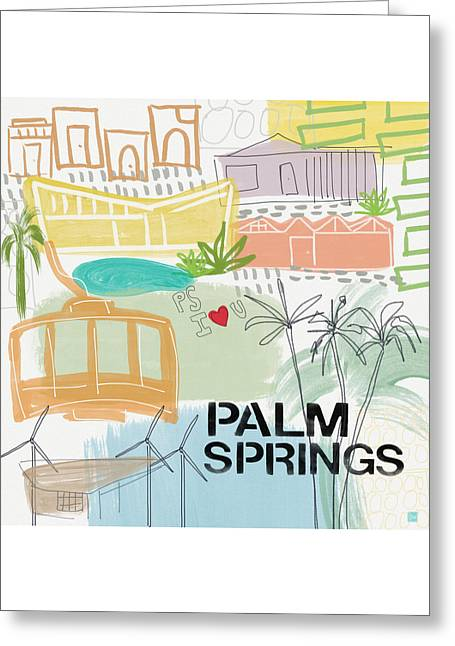 Palm Springs Cityscape- Art By Linda Woods Greeting Card by Linda Woods