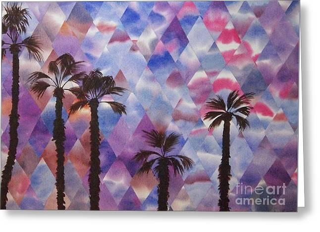 Palm Springs Sunset Greeting Card by Jeni Bate