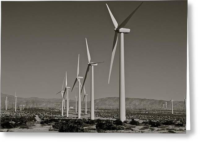 Palm Springs Windmills I In B And W Greeting Card by Kirsten Giving
