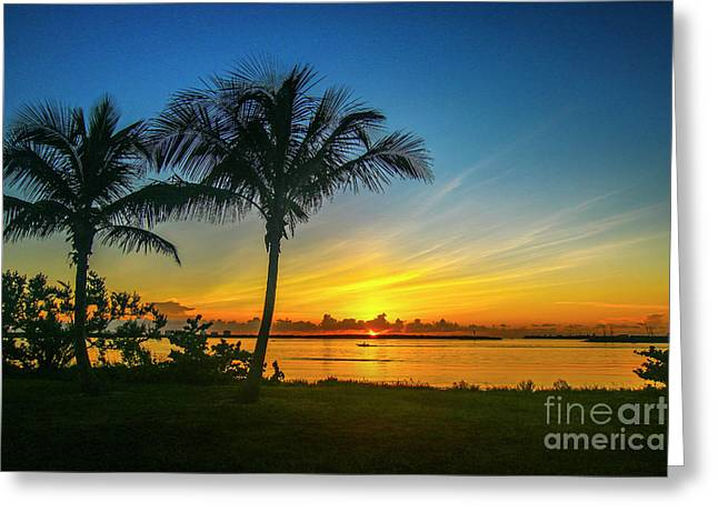 Palm Tree And Boat Sunrise Greeting Card