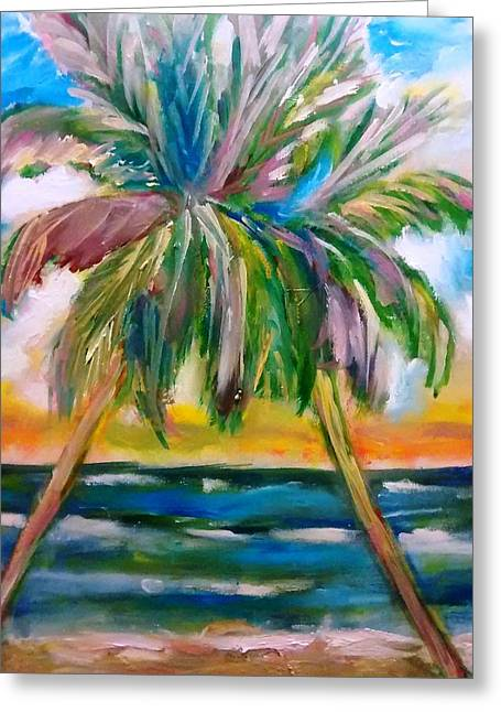 Palm Tree Color Times Two Greeting Card