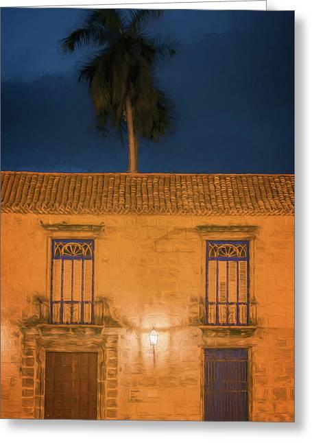 Palm Tree Dawn Havana Cuba Greeting Card by Joan Carroll