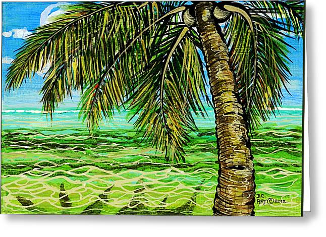Greeting Card featuring the painting Palm Tree by Debbie Chamberlin