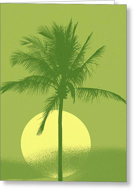 Palm Tree Green Sun Setting Greeting Card by Philip Okoro