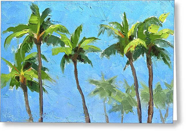 Greeting Card featuring the painting Palm Tree Plein Air Painting by Karen Whitworth