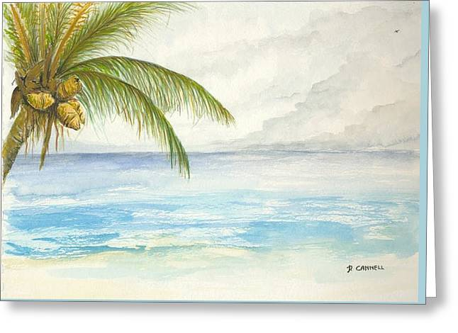 Greeting Card featuring the digital art Palm Tree Study by Darren Cannell