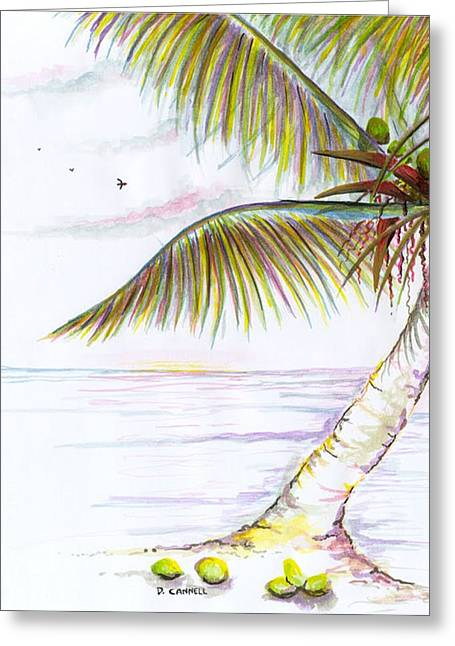Greeting Card featuring the digital art Palm Tree Study Three by Darren Cannell