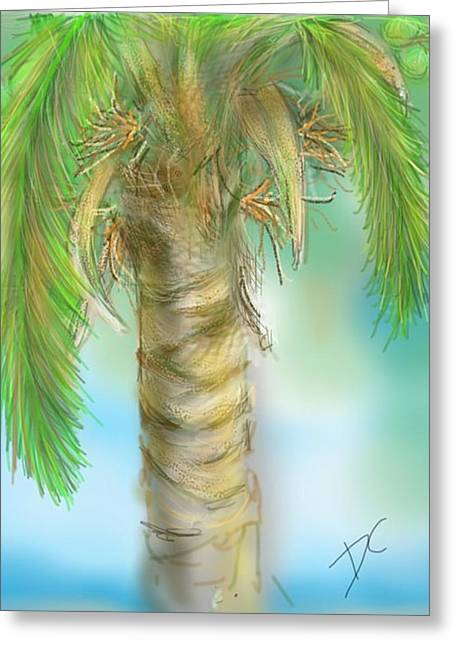 Greeting Card featuring the digital art Palm Tree Study Two by Darren Cannell
