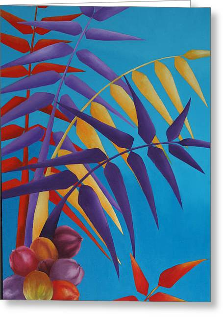Greeting Card featuring the painting Palm Tree With Coconuts 1 by Karin Eisermann