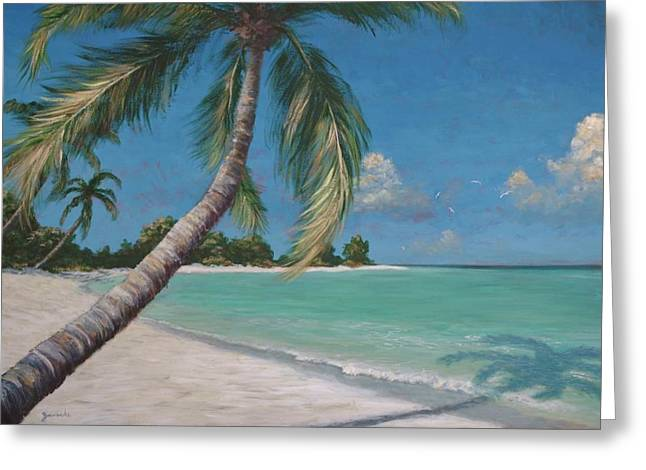 Palm Trees And Beach By Alan Zawacki Greeting Card