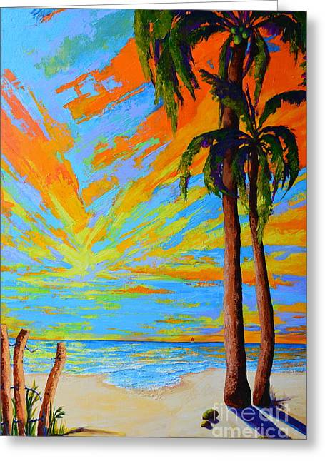 Florida Palm Trees, Tropical Beach, Colorful Sunset Painting Greeting Card