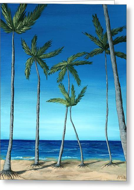 Greeting Card featuring the painting Palm Trees On Blue by Anastasiya Malakhova